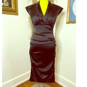 Helmut Lang Oriental Flare Form Fit Black  Dress